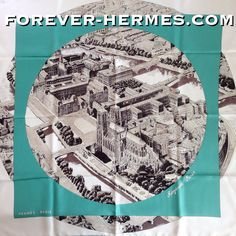 """Postcard from Paris ? Hermes presents this stunning scarf titled """"Regarde Paris"""" by Bali Barret now in our store! http://forever-hermes.com #ForeverHermes with an aerial view of the iconic Notre Dame De Paris #Cathedral and scenic #Seine #River would make a stunning #WallDecoration for the #gentleman office! #MensSuit #mensfashion #mensnecktie #womensfashion #Paris #HermesParis #ParisCity #NotreDame #JadeGreen"""