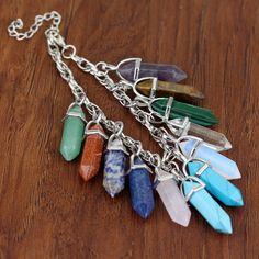 Natural Quartz Crystal Healing Point Chakra Cut Stone Pendant Reiki Necklace