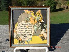 VINTAGE NICE 1920'S ART DECO FRAMED MOTTO PRINT NOT ALONE HAVING FRIENDS FLOWER Vintage Pictures, Pretty Pictures, Best Motto, 1920s Art Deco, Mottos, Vintage Prints, Retro, Flower, Nice