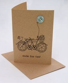 'made for two' button box card.