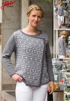 Gratis strikkeopskrift - Trøje med slå-om forstykke i merino