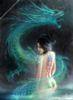 Full back piece idea for me ~ * Self Portrait After specific changes from Asian to Celtic; Girl to have my face, Dragon to be given specific Celtic detail, Tattoo on her back to be changed so  identical to how piece is done on my back...Therefore making the entire piece myself.