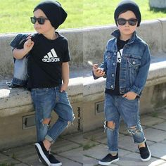 Distressed jeans adidas t shirt black vans black beanie distressed denim jean jacket fashion inspo mixed babies ray bans sunglasses ootd toddler outfit baby fashion