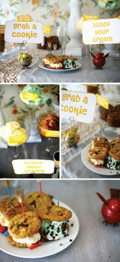 Make-Your-Own Ice Cream Sammies Bar — Celebrations at Home, I love the birds giving instructions!