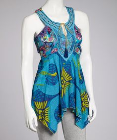Another great find on #zulily! Turquoise Handkerchief Tunic by Mantra #zulilyfinds