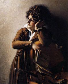 """Anne-LouisGIRODET de ROUSSY-TRIOSON Portrait de Benoit Agnès Trioson """"Jeune Homme étudiant son rudiment"""""""