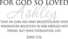 For God So Loved John 3:16 vinyl letters bible quote wall decal home decor.