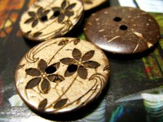 Wooden Buttons - 10 pieces of Japanese Style Khaki Concave  Coconut Buttons with Brown Tawny-Day-Lily pattern. 0.71 inch by Lyanwood, $4.00