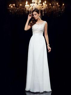 A-Line/Princess Scoop Applique Sleeveless Floor-Length Chiffon Dresses