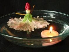 Floating Hollyhock Doll and Candle Daisy Crown, Dark Sugars, Hollyhocks Flowers, Fairy Ring, Garden Games, Floating In Water, Natural Phenomena, Live Long, Tea Lights