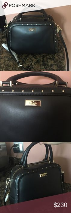 New large Kate Spade GORGEOUS black leather purse Never used bag with short and straps for variations. 13x10x16 Very spacious!  Its in dire need of a new owner! Dust bag not included. kate spade Bags