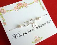 Sale Personalized Infinity Bracelet with Pearl by GlittersGiftShop