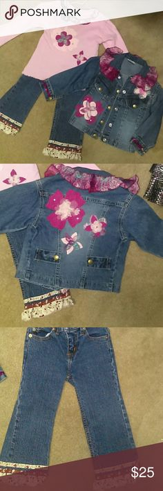 Denim pants and jacket with matching shirt Denim pants and jacket with matching pink shirt. Very cute outfit. Matching Sets