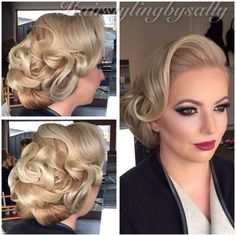 vintage wedding hair Hairstyling by me and makeup by mandys_cosmetics for this stunning client of mi Vintage Wedding Hair, Short Wedding Hair, Wedding Hair And Makeup, Boho Wedding, Retro Hairstyles, Bride Hairstyles, Gatsby Hairstyles, Bridesmaid Hair, Prom Hair