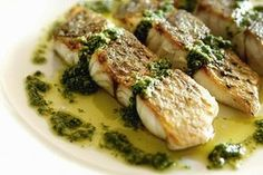 wanna try this salsa verde with seared scallops and a lemon risotto. barramundi with salsa verdi pic by jennifer soo/jsz, story by steve manfredi SPECIALX 44800 Clean Recipes, Fish Recipes, Seafood Recipes, Cooking Recipes, Recipies, Barramundi Fish Recipe, Salsa Verde Recipe, Romantic Meals, Kitchen Herbs