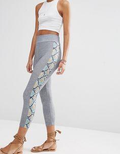 Image 4 ofASOS Cropped Leggings with Snake Side Stripe