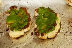 Cauliflower steaks with pesto