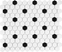 Glazed Porcelain Hexagon Mosaic Tiles - 1 Inch Black and White Tiles Hexagon Mosaic Tile, Mosaic Glass, Hex Tile, Black And White Tiles, Black White, Black And White Bathroom Floor, Black Dots, Matte Black, Best Floor Tiles