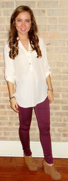 Cream top, berry skinny jeans, tan booties - Studio 3:19