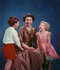 Queen Elizabeth with Prince Charles and Princess Anne, 1954