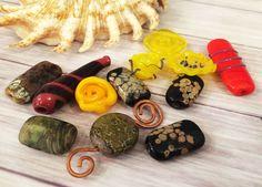 Lampwork Glass Beads From Murano Glass Handmade Multi-Color Mix 12 Pcs #HandmadeLampworkBeads #Lampwork