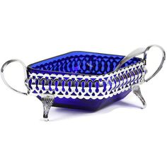 Small Condiment Dish, 3-Footed Chrome Stand, Cobalt Blue Glass (€29) ❤ liked on Polyvore featuring home, kitchen & dining, serveware, glass stand, sauce dish, sauce dishes, glass dishes and cobalt blue glass dishes
