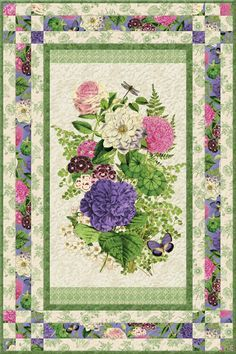 Flower Show I Free Quilt Pattern Fabric Panel Quilts, Lap Quilts, Quilt Blocks, Scrappy Quilts, Quilt Kits, Quilting Projects, Quilting Designs, Quilting Ideas, Quilt Boarders