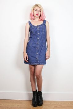 Vintage 1990s Dress Blue Jean Jumper Overalls Mini Dress 90s Dress Soft Grunge Denim Dress Sleeveless Sundress Dungarees S Small M Medium #1990s #90s #etsy #vintage #denim #dungarees #overalls #mini #jean #dress #soft #grunge #softgrunge