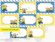 Despicable Me 2 Minions Printable Food Tent Editable PDF / Place Cards INSTANT DOWNLOAD by ErikasPaperCreations on Etsy