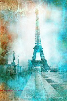 Paris Photography Eiffel Tower Aqua Teal Abstract by KathyFornal