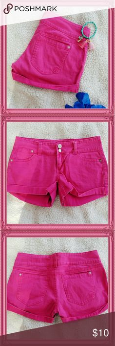 """Cuffed Pink shorts Cuffed Pink shorts NWOT Measurements: total length 10"""" waist 15"""" Material: 98% cotton 2% spandex Shorts Jean Shorts"""