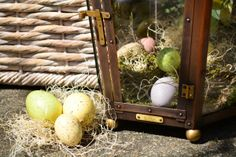 Hello Spring! Pastel colored Easter eggs and #bevolo Pool House Lanterns. #decor #lanterns