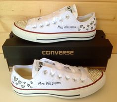 84f618346a40 Wedding Converse Hearts Design with Swarovski Crystal toes Bride Converse
