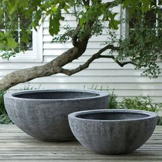 textured concrete bowl planter