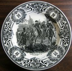 Black on Cream. Historical Napolean Plate June Made in Belgium. I have more in this neat series. Black And White Plates, White Decor, Delft, Xmas Decorations, Black Cream, Belgium, Decorative Plates, Monogram, Pottery