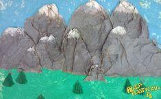 Góry biały karton farby (niebieska, zielona, szara, biała) pędzle bibuła zielona papier pakunkowy klej nożyczki Mount Rushmore, Diy And Crafts, Nature, Painting, Winter, Card Stock, Painting Art, Paintings, Paint