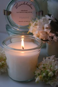 Scented candle, Hyazinth - handmade scented candle from Munkholm, Denmark