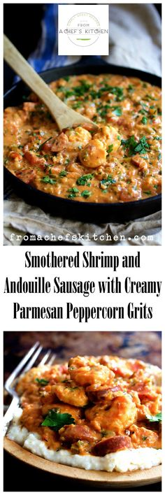 New Orleans-inspired Smothered Shrimp and Andouille Sausage with Creamy Parmesan Peppercorn Grits - Rich and decadent! increase grits to cups Fish Recipes, Seafood Recipes, Dinner Recipes, Donut Recipes, Cuban Recipes, Salmon Recipes, Cajun Cooking, Cooking Recipes, Gastronomia