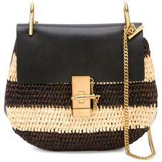 Chloe Raffia Mini Drew (47,310 HNL) ❤ liked on Polyvore featuring bags, handbags, shoulder bags, kirna zabete, strap purse, miniature purse, shoulder strap handbags, raffia purse and chain strap purse