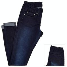 Cuffed Dark Wash Skinny Jeans Jr. ($17) ❤ liked on Polyvore featuring jeans, denim jeggings, skinny jeans, stretch denim jeans, blue skinny jeans and jeggings jeans