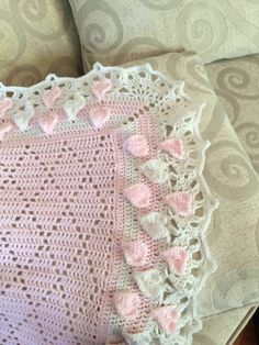 Lacy Crochet: Diamond Baby Blanket with Hearts and Shells Border Easy Crochet Blanket, Afghan Blanket, Crochet Blanket Patterns, Baby Patterns, Crochet Blankets, Baby Blankets, Crochet Afghans, Scrappy Quilts, Baby Quilts