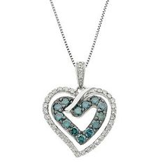 Blue White Diamond Silver Love Locked Heart Pendant Necklace Available Exclusively at Gemologica.com
