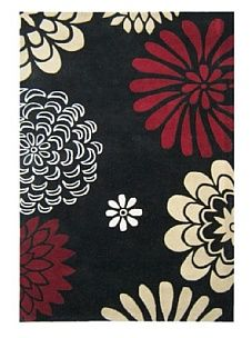 Black/Wine/Multi Handmade Alliyah Collection Rug by Houston Rugs    again, makes me think of Japanese red umbrellas or pinwheels.  love the contrasts of deep red, black and white.