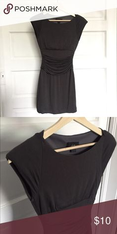 SEXY GRAY MINI DRESS - S Pricing is negotiable - never worn - form fitting, ruching around waist, structured shoulders Forever 21 Dresses Mini
