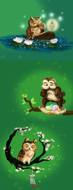 Spring owls by Redilion on DeviantArt
