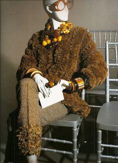 Iris Apfel, amber, photo by Eric Boman from Rare Bird of Fashion
