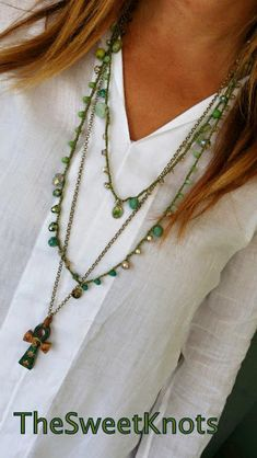 Crochet necklace religious  cross  green stones by TheSweetKnots, $36.00