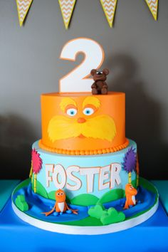 The Crafty Practitioner: Foster's Lorax Party: The Toddler Table & Treat Buffet, truffula tree, lorax, lorax cake, cake pops, humming fish, barbaloots, birthday board, candy buffet, wodden utensils, name tags, food signs, mason jars, plates, banner, tulle balls