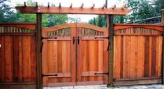 best redwood double gate fence designs - Google Search