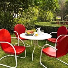 Kick back while you reminisce in this outdoor dining set by Griffith. #outdoor #furniture